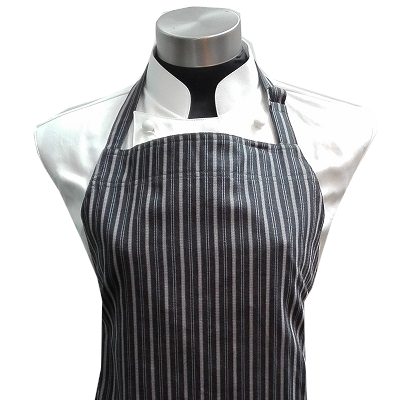 [Premier Collection] Adjustable Bib Apron - Black / Grey Stripes