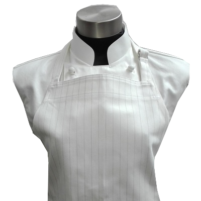 [Premier Collection] Adjustable Bib Apron - White / Grey Stripes
