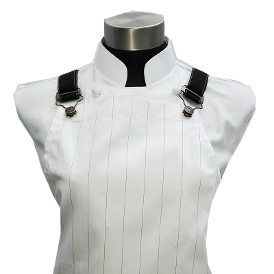 [Premier Collection] New Cross Back Adjustable Apron -White / Black Pin Stripes